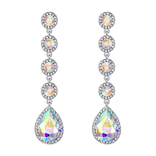 BriLove Wedding Bridal Dangle Earrings for Women Elegant Crystal Teardrop Chandelier Earrings Iridescent AB Silver-Tone