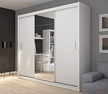 FADO Extra Large White 235 Cm Mirrored 3 Door Wardrobe Closet Sliding Doors  Mirrors Shelves Drawers