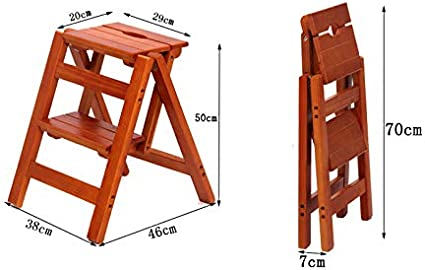 Softgo Ladder Stool Solid Wood Household Ladder Folding Two-Step Ladder Multi-Function Ladder Stool Stair Chair Indoor Climbing Small Ladder Color : Black