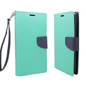 **PDA**For ZTE Max N9520 (Boost Mobile) 2 Tone Deluxe Dual-Use Flip PU Leather Case, Light Green/Dark Blue