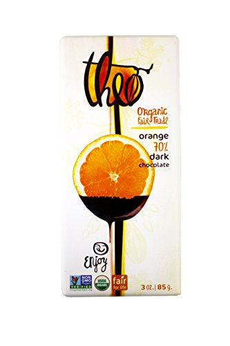 Theo Classic Organic Dark Chocolate (70% Cacao) with Orange, 3-Ounce Bars (Pack of 12)