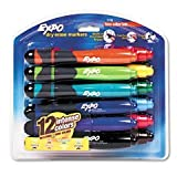 : Expo Low Odor Chisel Tip Dry Erase Markers with Built-in Eraser and Grip, 12 Assorted Markers(83788)