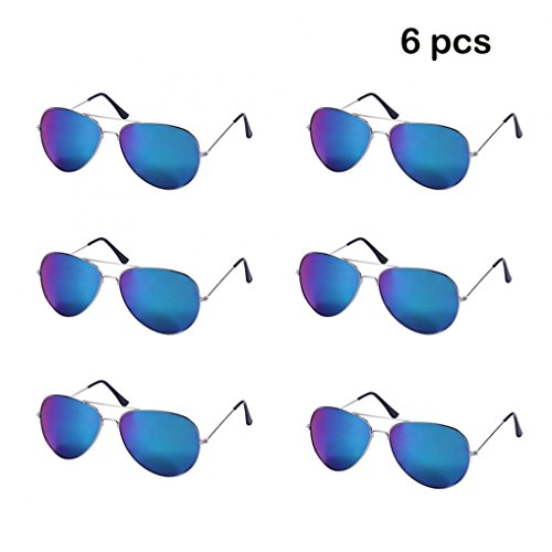 WODISON Wholesale Vintage Reflective Mirror Lens Metal Frame Aviator Party Sunglasses Bulk Lot Glasses 6 - Sunglasses Pack 6
