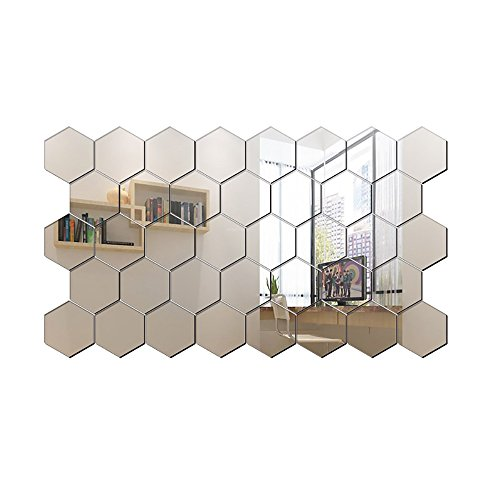 ITTA Hexagon Mirror, 32pcs 8x7x4cm 3D Acrylic DIY Wall Decorative wall decor sticker Self-adhesive Mirror Wall Stickers Removable Wall Mural Home Decor Wedding Room Decor (Silver) ()