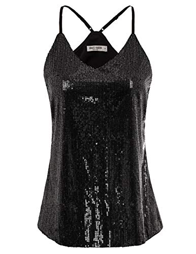 GRACE KARIN Womens Sparkle Sequin Embellish Sleeveless Tank Top Size L,Black