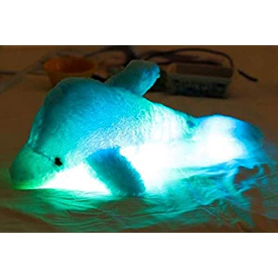 Stuffed LED Dolphin Sea Animal Night Light Colorful Glowing Dolphin Soft Plush Toys 18 Inch for Kids Blue: Toys & Games