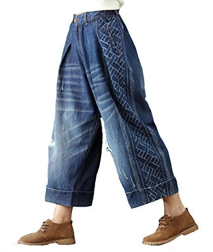 (Aeneontrue Women's Ripped Wide Leg CapriJeans Denim Pleated Cropped Pants (KZ089_Blue, Medium))
