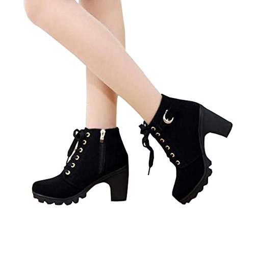 Women's Ankle Bootie Platform High Heel Cut-Out Side Lace Up Hiking Military Boots Outdoor Work Shoes