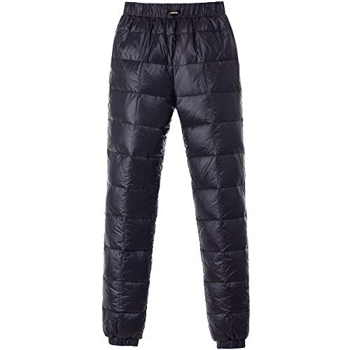 Tapasimme Men's Winter Warm Loose Packable Down Pants Puffer High Waisted Nylon Compression Lightweight Snow Trousers (X-Large, Black) (Best Winter Backpacking Pants)