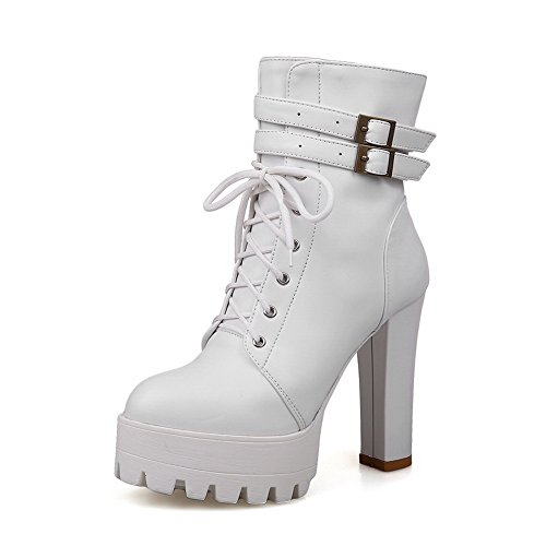 BalaMasa Womens Chunky Heels Platform Buckle Imitated Leather Boots White gpBsq9V0Un