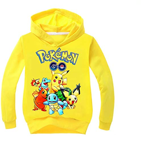 Lee Classic Sweatshirt - Ku-lee Boys Girls Pikachu Hoodie-Kids Cartoon Pullover Sweatshirt with Hood(2T-14 Years) Yellow