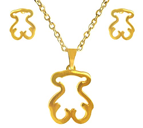 (INNOVATE. Necklace and Earrings Set, in The Form of Bear Silhouette. in Golden Stainless Steel.)