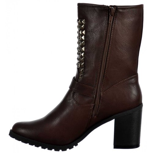 Onlineshoe Ankle Block Women's Biker Studded Heel Brown Boots qvRUq