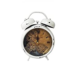 Royal Brands Desktop Decorative Clock - European Retro Vintage Clock Home Decor - Metal Decoration with Alarm and Roman Numerals - Perfect for Living Room, Bedroom or Office