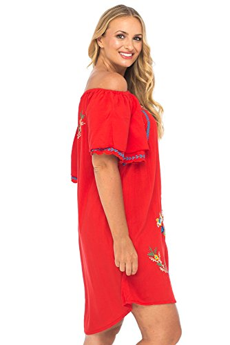 Back From Bali Womens Plus Size Mexican Embroidered Dress ...