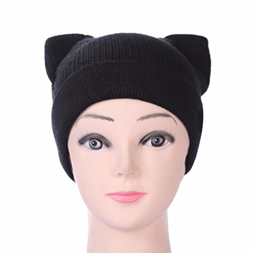 RNTOP Womens Lady Fashion Cat Ears Winter Warm Cap Thick Curling Wool Hat (B)