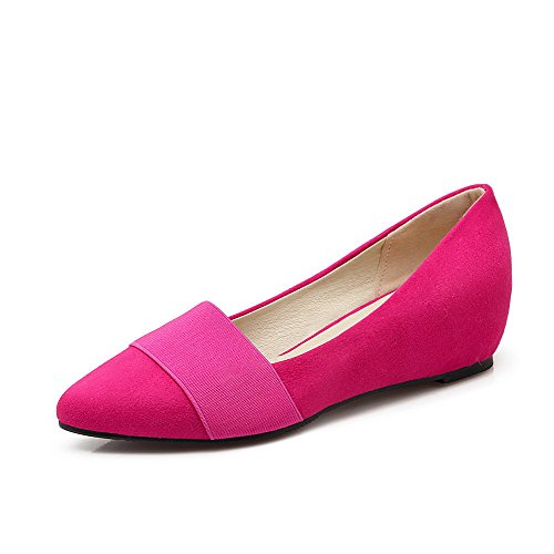 on Solid Imitated RoseRed Pull Toe Closed Women's Suede Shoes Kitten Pointed Pumps WeiPoot Heels TvgwCqC