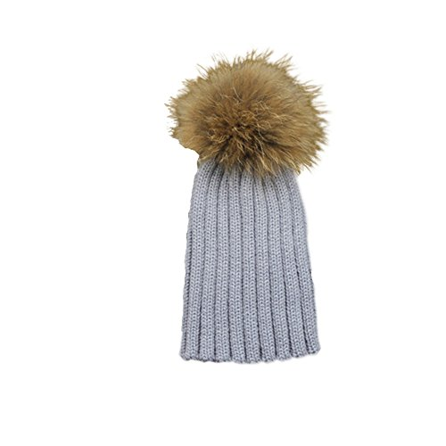 Childrens Unisex Outdoor Warm Stylish Winter Beanie Hat With Detacahable Pom Pom and Ribbed Design - Made With Real Fur - Grey