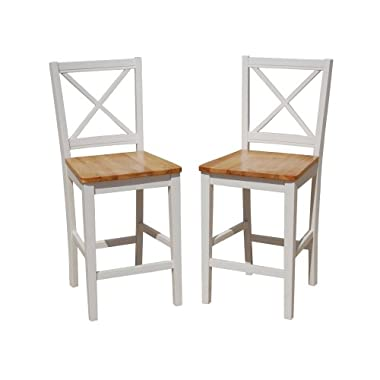 Target Marketing Systems TMS 24 inch Virginia Cross Back Stools (Set of 2), White/natural