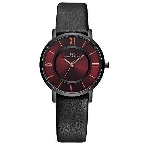 IBSO Women Ultra-thin Quartz Analog Roman Numeral Watch Waterproof Unique Fashion Design Wristwatch (Red (Or Is Women Watch)