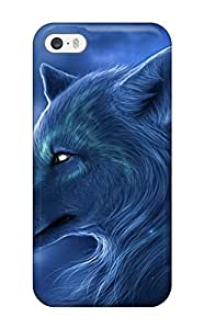 LJF phone case Rachel B Hester HugdWam6613VYRBY Case Cover Iphone 5/5s Protective Case Silver Wolf