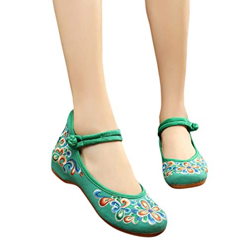 Huicai Femmes Casual Broderie Chaussures Vert Appartements Pour Chinoise De Confortables qxBrqwXSv