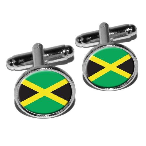 Jamaïque Drapeau jamaïcain rond Boutons de manchette–Argent