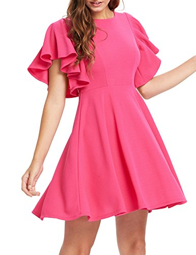 Romwe Women's Stretchy A Line Swing Flared Skater Cocktail Party Dress Rose S