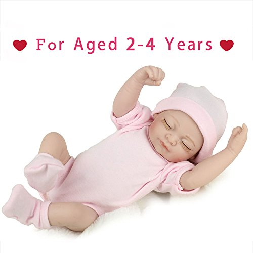 Reborn Newborn Baby Realike Doll Handmade Lifelike Silicone Vinyl Weighted Alive Doll for Toddler Gifts 10""
