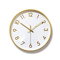 Foyou 12 Inch Silent Metal Frame Decorative Wall Clock Battery Operated Non Ticking for Living Room, Bedroom, Office (1)