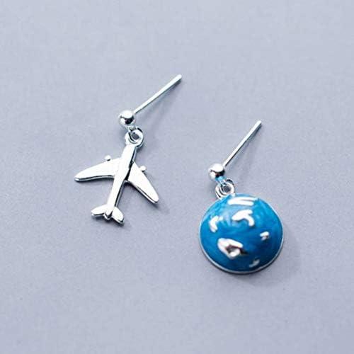 WOZUIMEI S925 Silberohrringe Japan und Südkorea Stil Literarische Kleine Frische Asymmetrische Ohrringe für Frauen Blue Earth Flugzeugschmuckein Paar, 925 Silber