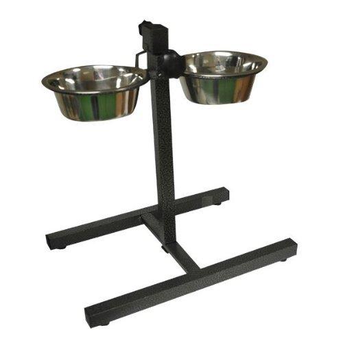 stainless adjustable double diner steel bowls food feeding pet dog bowls stand. Black Bedroom Furniture Sets. Home Design Ideas