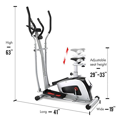 Crystal Fit 2 in 1 Elliptical Trainers Cardio Fitness Exercise Bike Home Gym with Heart Rate Monitor, Adjustable Resistance Dual Trainer