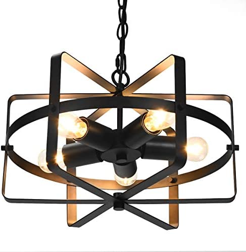 Tangkula 5 Lights Chandelier, Industrial Style Drum Shape Round Ceiling Lamp with Adjustable Hanging Chain 5 E26 Lamp Holders, Metal Chandeliers for Dinning Room, Kitchen, Living Room Black