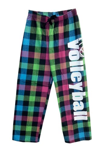 Volleyball Drawstring Flannel Pants Adult X-large Neon Plaid