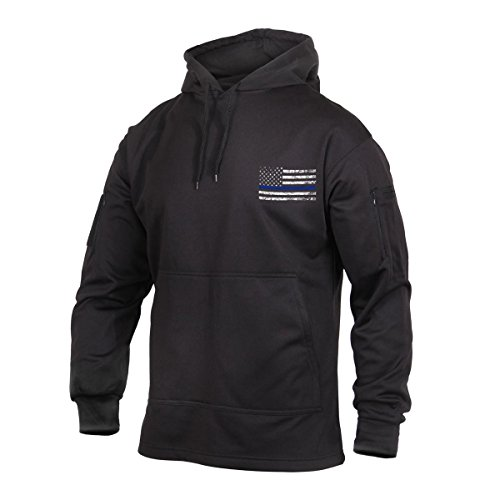 Rothco Thin Blue Line Flag Concealed Carry Hoodie, Hooded Sweatshirt, Black, 4XL (Sweatshirt Army Zippered)