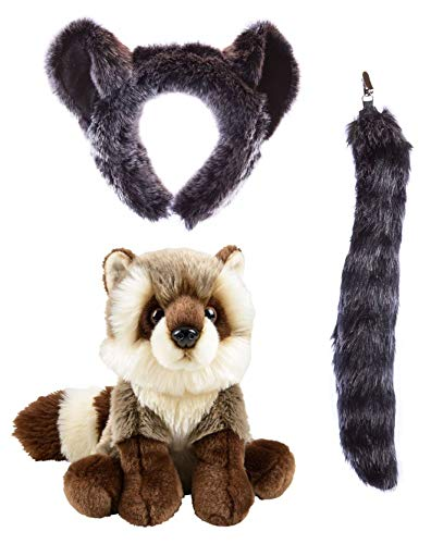 Wildlife Tree Stuffed Plush Raccoon Ears Headband and Tail Set with Baby Plush Toy Raccoon Bundle for Pretend Play Animals Dressup -