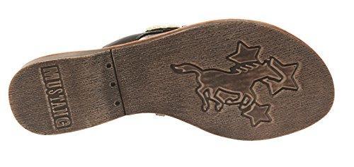 Mustang Damen 3126805 Zehentrenner-Pantolette mit Perlenstickerei schwarz/multi (9)