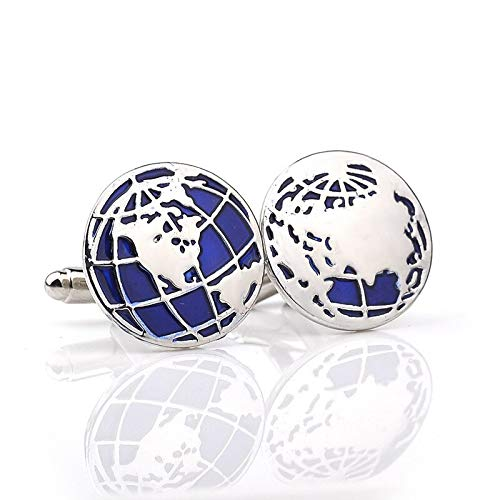 1 Pair World Map | Silver Men Cufflinks | Fashion Classic Male French Shirts Cuff Botton | Novelty Blue Enamel