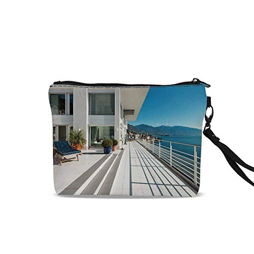 (White Decor Female Cosmetic Bag,Penthouse Summer Home with Wide Patio Balcony Veranda with Sea Scenery For Women Girl,9