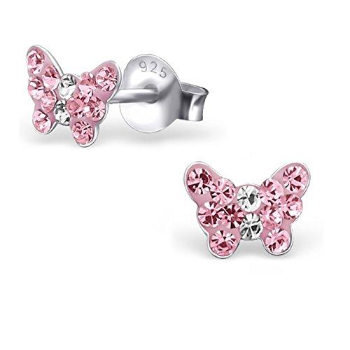 4dddfeb8b3d7 GH   Kids Color Rosa Mini cristal mariposa Pendientes Plata de ley 925  pendientes niña infantil