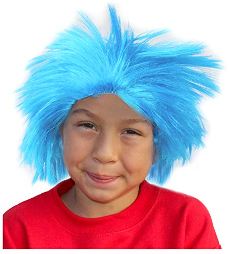 Costume Adventure Blue Frizzy Straight Up Character Troll Wig for Kids or Adults
