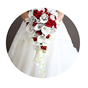 Lady Funny Day Waterfall Red Weddings Bridal Bouquets Artificial Pearls Crystal Wedding Bouquet 91