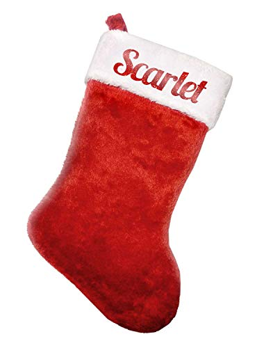 Scarlet Red Glitter Plush Christmas Stocking 8.5 in. x 18 in. ()