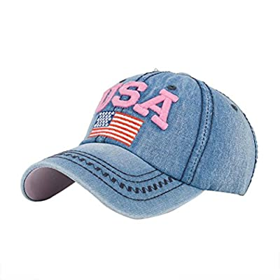 Litetao Men Women Caps, Baseball Caps, USA Denim Rhinestone Snapback Hip Hop Flat Hats For Running, Workouts and Outdoor Activities by Litetao