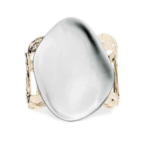 Alexis Bittar Cuff Bracelet - Alexis Bittar Disk And Rocky Link Cuff Bracelet with Swarovski Crystal Accent