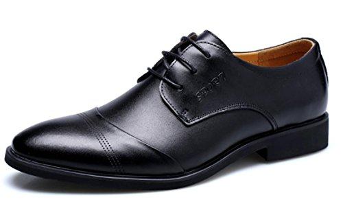 Alexis Leroy Men's Leather Lace-up Pointed Toe Derby Oxfords Flats Shoes Black 44 M EU / 10-10.5 D(M) US