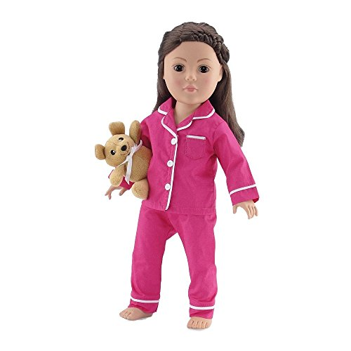 18 Inch Doll Clothes |Bright Pink and White Classic 2 Piece Pajama PJ Outfit with Teddy Bear | Fits American Girl Dolls ()