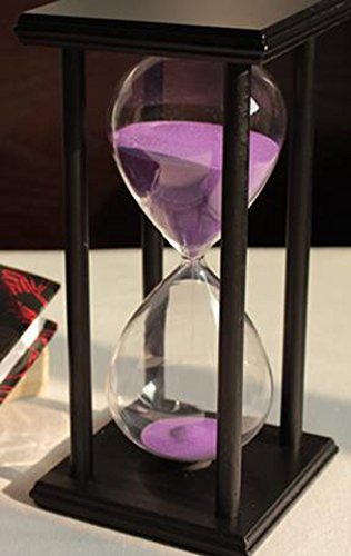 60 Minutes Hourglass Timer Creative Gift Home Decorations Ornaments (black frame purple sand)