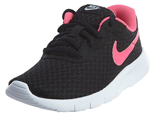 NIKE Girl's Tanjun (PS) Running Shoes (11 Little Kid M, Black/Hyper Pink/White)